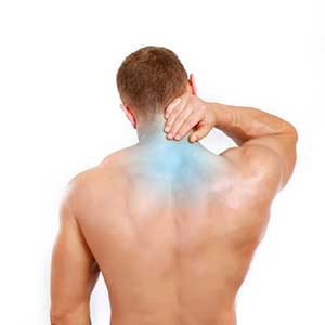 Man with neck pain needing deep tissue massage