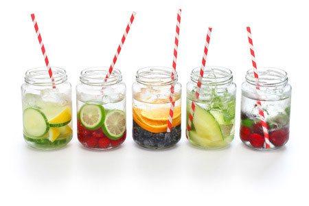 selection of skin detox drinks in jam jars